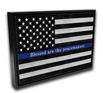 Police Officer Sign | 24x36 Black Framed Ready-to-Hang Canvas Wall Art, Law Enforcement Thin Blue Line Print Blessed are The Peacemakers Home Decor