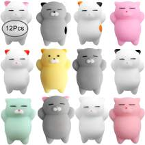 Outee Mochi Animals Toys, 12 Pcs Stress Relief Toys Mini Animals Cat Stress Relief Animals Toys for Kids Adults