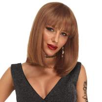 ANNELBEL Short Bob Wigs with Bangs 8 Inch Brazilian Straight Remy Human Hair Bob Wigs with Bangs None Lace Front 150% Density Glueless Machine Made Wig for Black Women (Color #30)