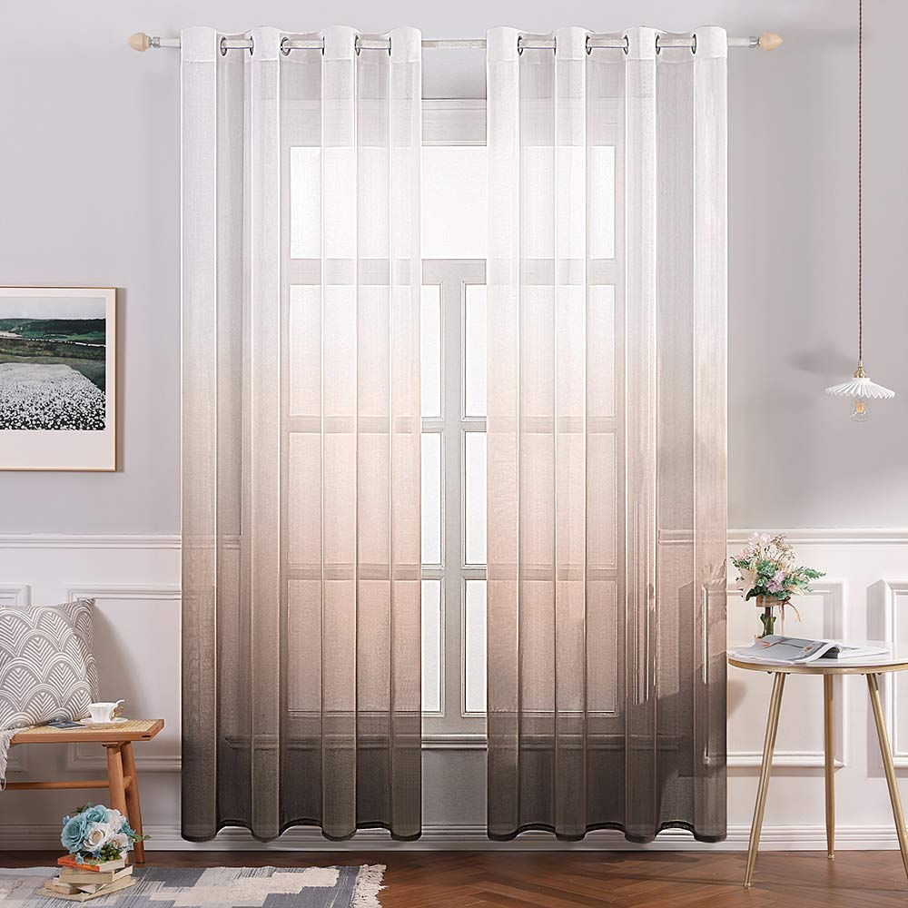 MIULEE 2 Panels Linen Sheer Curtain Voile Grommet Top Semi Translucent Gradient Curtains Window Treatment for Bedroom Living Room Ombre Coffee 54x72 Inch