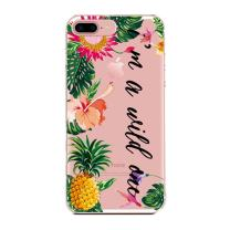 iPhone 8/iPhone 7/iPhone SE(2020) Case Floral Flowers,Tropical Funny Words I'm a Wild One Aloha Love Summer Beach Hawaii Pineapple Fruits Clear Rubber Case Cover Compatible for iPhone 7/iPhone 8
