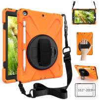 ZenRich New iPad 10.2 Case 2019, iPad 7th Generation Case with Pencil Holder, Rotatable Kickstand, Hand Strap and Shoulder Strap, Shockproof Case for iPad 10.2 inch 2019 A2197/A2198/A2199/A2200-Orange