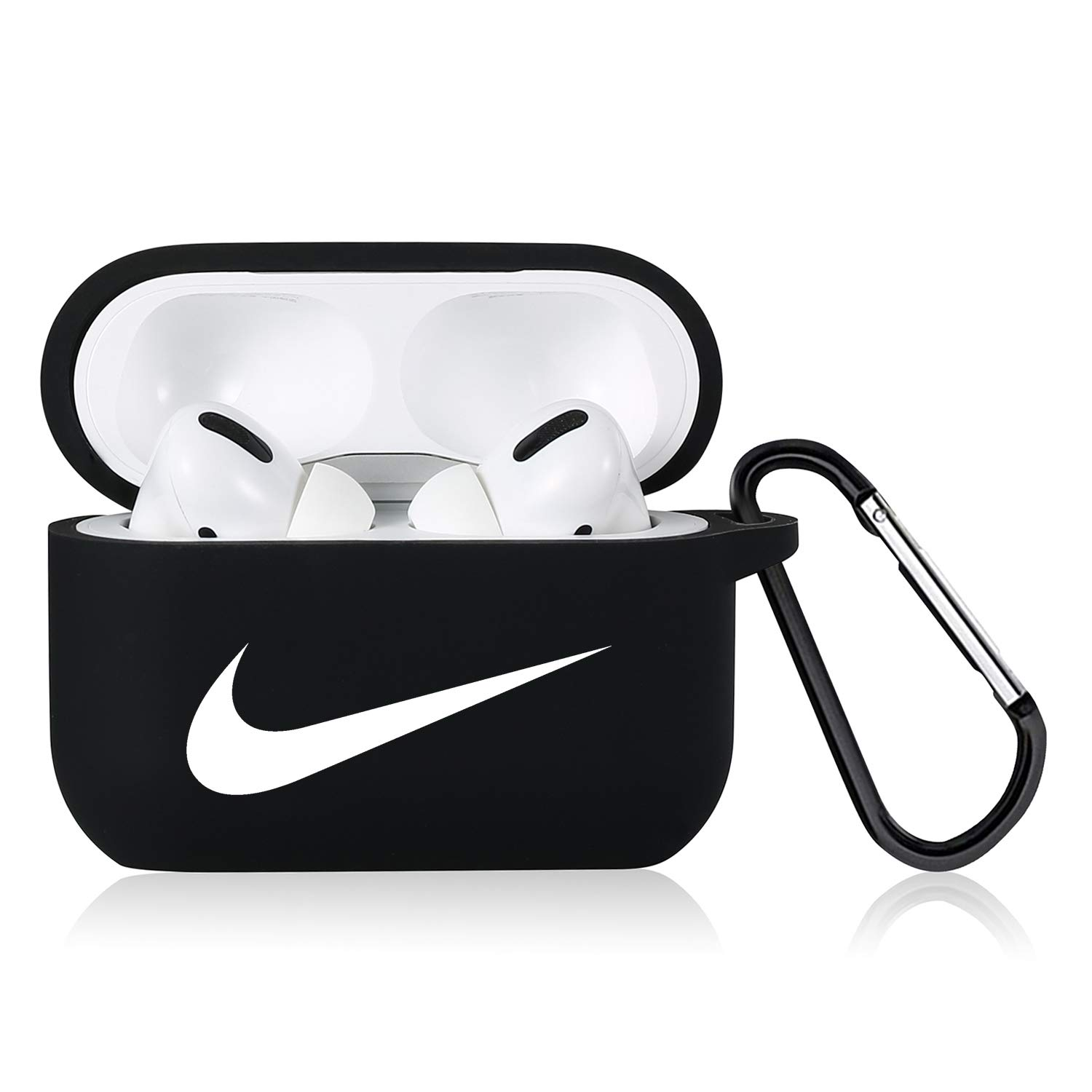 Punswan for Airpods Pro Case,Cute 3D Luxury Character Soft Silicone Stylish Cover, Sport Cool Keychain Style Design Skin,Cases with Lanyard Chain,for Girls Kids Boys Men Air pods Pro/3 (Black Right)