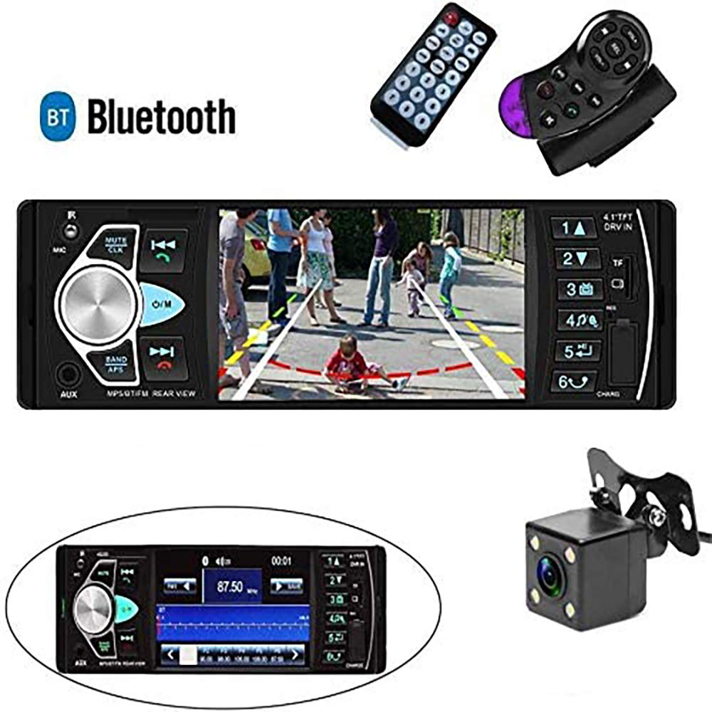 Camecho Single Din Car Stereo Radio 4.1'' TFT Screen Parking Assistance in-Dash Bluetooth USB/SD/FM MP5 Player with Waterproof Night Vision Backup Camera