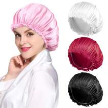 4PCS Satin Bonnet for Women Natural Curly Hair,F