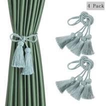 BEL AVENIR 4 Pack Curtain Tiebacks Handmade Decorative Curtain Holdbacks Rope with Tassel (Light Blue)
