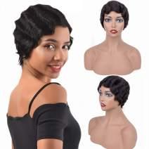 Human Hair Wigs Natural Ocean Wave Wig 4 Inch Brazilian Wigs For Black Women Virgin Remy Hair Natural Black 1b# Short Wigs Full Machine