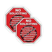 Safety Magnets No Soliciting Vinyl Static Cling Decal | No Trespassers Sticker- for Homes, Offices, Businesses | Modern Door Porch Window Decor Sign | Black & Red | Inside Outside Removable(2, 5 INCH)