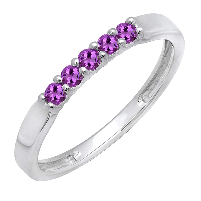 Dazzlingrock Collection 14K Round Gemstone 5 Stone Ladies Anniversary Wedding Band Ring, White Gold