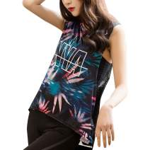 EVEDESIGN Women's Casual Workout Yoga Tank Top Letter Floral Printed Loose Fit Racerback