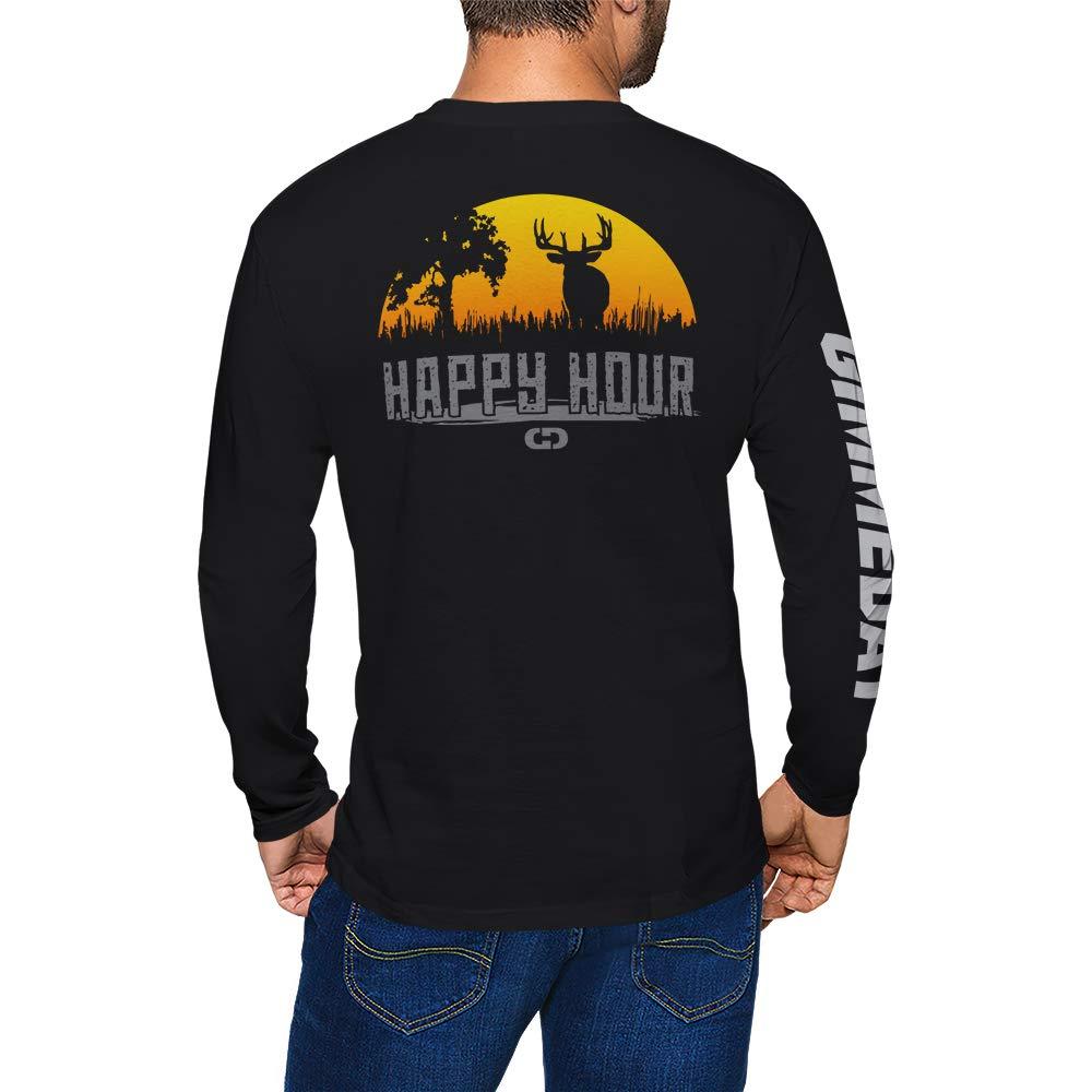 GIMMEDAT Happy Hour Buck Deer Hunting Long Sleeve Shirt Man Woman Gift Fun