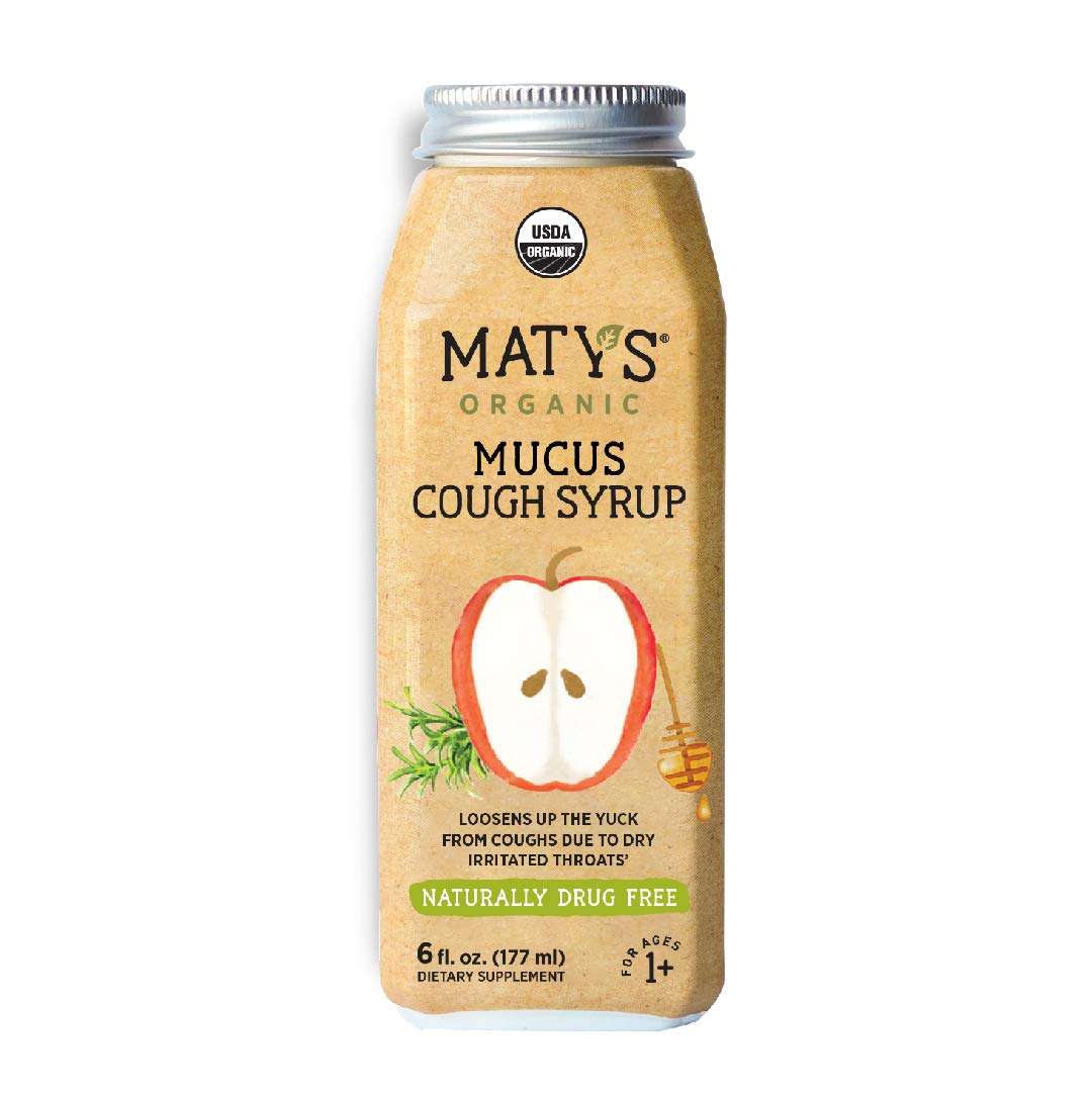 Maty's Organic Mucus Cough Syrup, 6 Fluid Ounce, Organic Cough Remedy, Soothes Throats & Thins Mucus