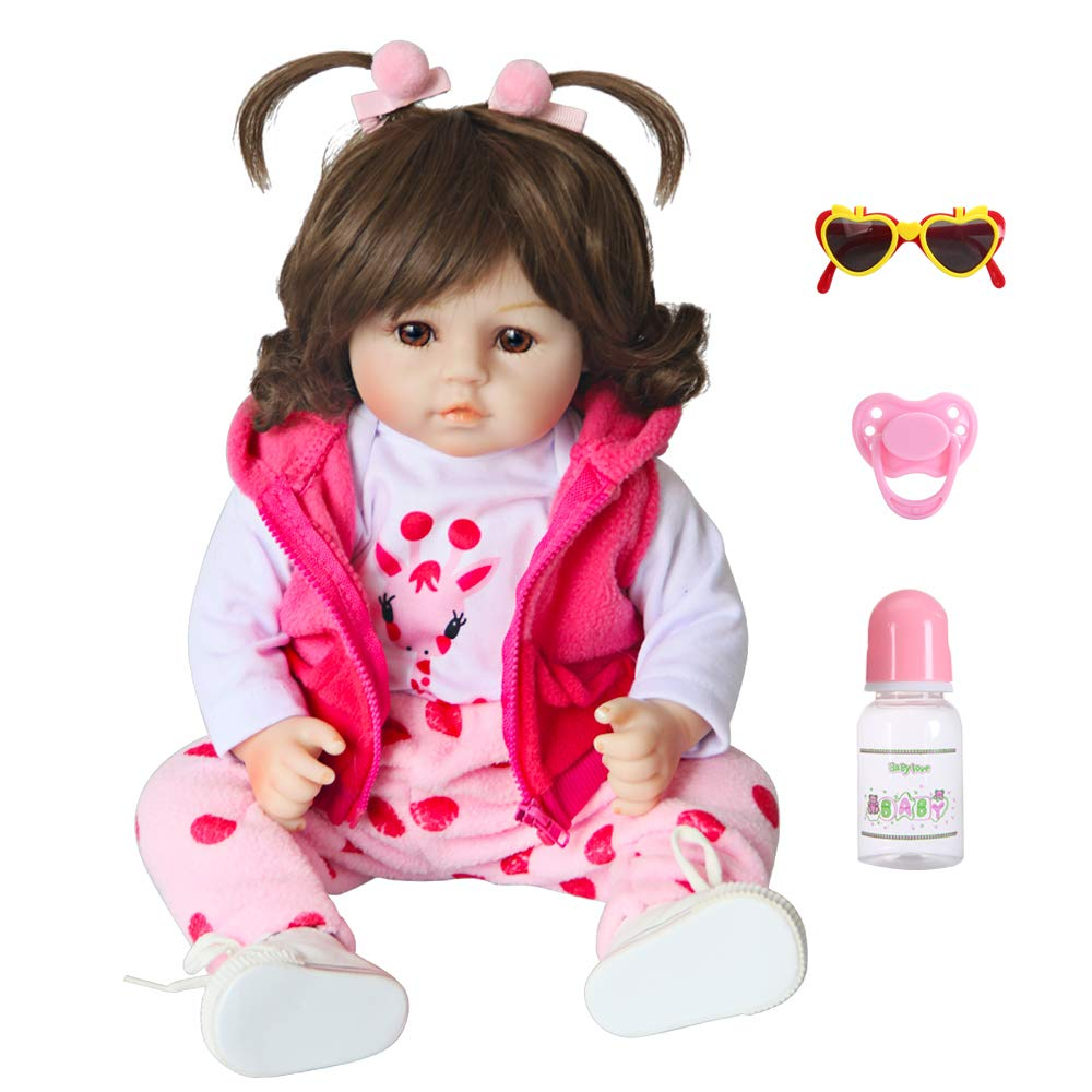 UCanaan Reborn Baby Dolls 18 Inch Soft Silicone Cloth Body Weighted Realistic Baby Dolls with 6-Piece Gift Set for Girls