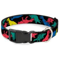 Buckle-Down Dog Collar Plastic Clip Dinosaurs Black Multi Color Available in Adjustable Sizes for Small Medium Large Dogs