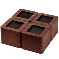 aspeike The New Upgrade 4 Packs 3 INCH Bed and Furniture Risers Heavy Duty Bed Lifts - Lifts Up to 6600 LBs Couch, Desk, Tables or Chairs Risers(More Realistic Woody Feel) Dark Wooden Color