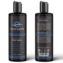 OCEAN EMPIRE Revitalizing Mint Body Wash for Men   Mens Shower Gel with Olive, Glycerin and Chamomile   Gently Clean and Softens Skin   Natural Ingredients   8oz