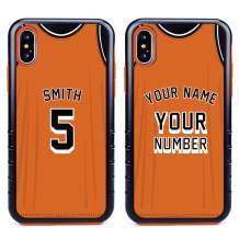 Custom Basketball Jersey Cases for iPhone Xs Max by Guard Dog – Personalized Sports – Your Name and Number on a Protective Hybrid Phone Case. (Black, Orange)