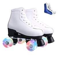 Roller Skates for Women Men High-top PU Leather Roller Skates Shiny Four Wheels Roller Derby Skates White Black Roller Skates for Girls Boys