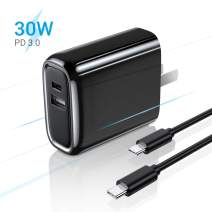 AINOPE 30W USB C Power Adapter, [with C to C Cable] Dual Fast Charging Port USB C Wall Adapter with Foldable Plug Travel USB C Charger for Ipad Pro, iPhone 11/ Pro/Max/XS/Max/XR/X, Pixel, Galaxy
