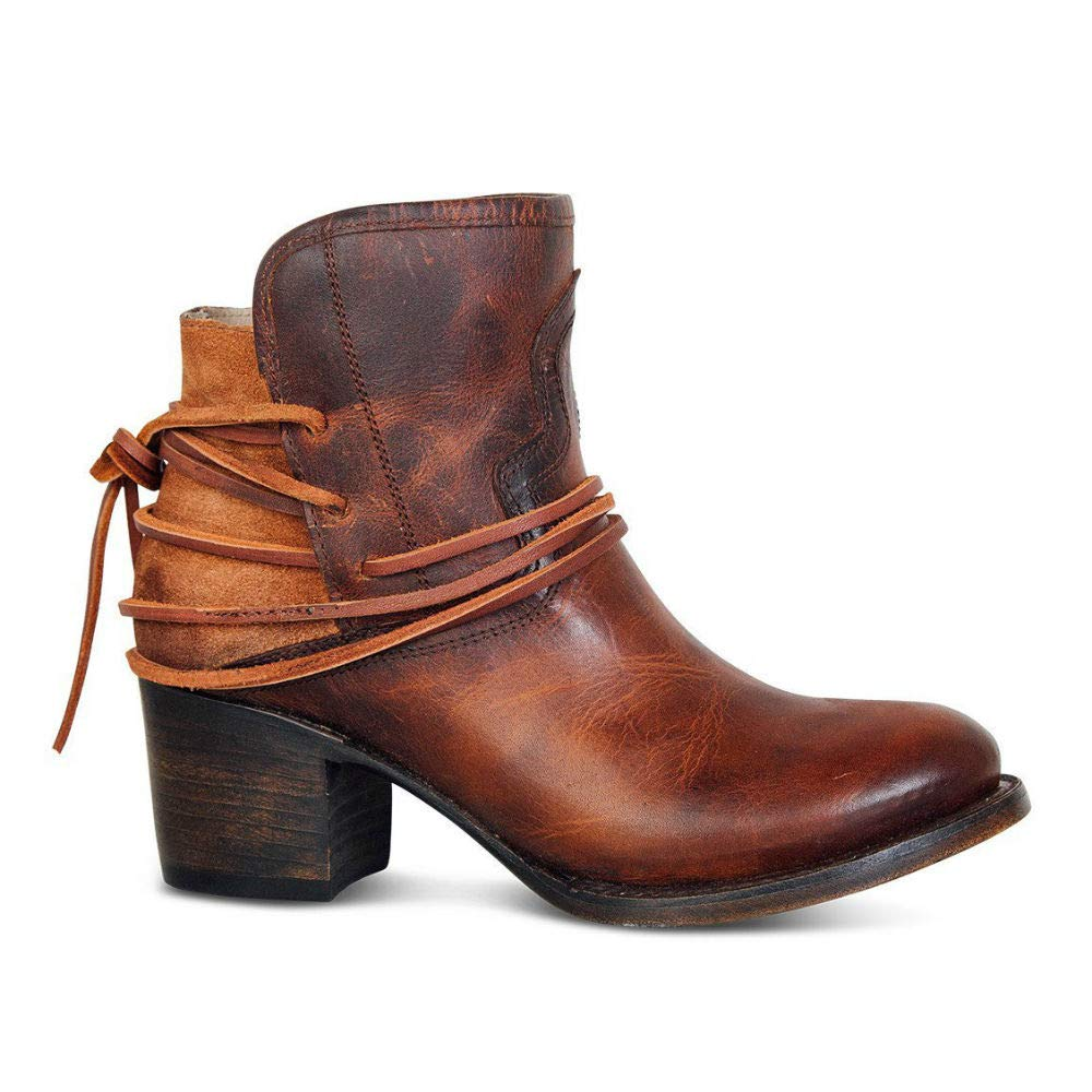 Women's Vintage Ankle Booties Strappy Lace-Up Chunky Stacked Heel Distressed Leather Color Block Western Boot