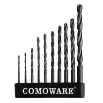 "COMOWARE Twist Drill Bit Set- High Speed Steel Jobber Drill Bits, General Purpose, Black Oxide for Wood Plastic Alloys 10 Pcs, 1/16""-1/4"""