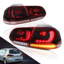 MICROPOWER LED Tail Lights for Volkswagen Golf 6 VW MK6 R GTI 2010 2011 2012 2013 2014, Modified Rear Lamp with Sequential, Red Clear