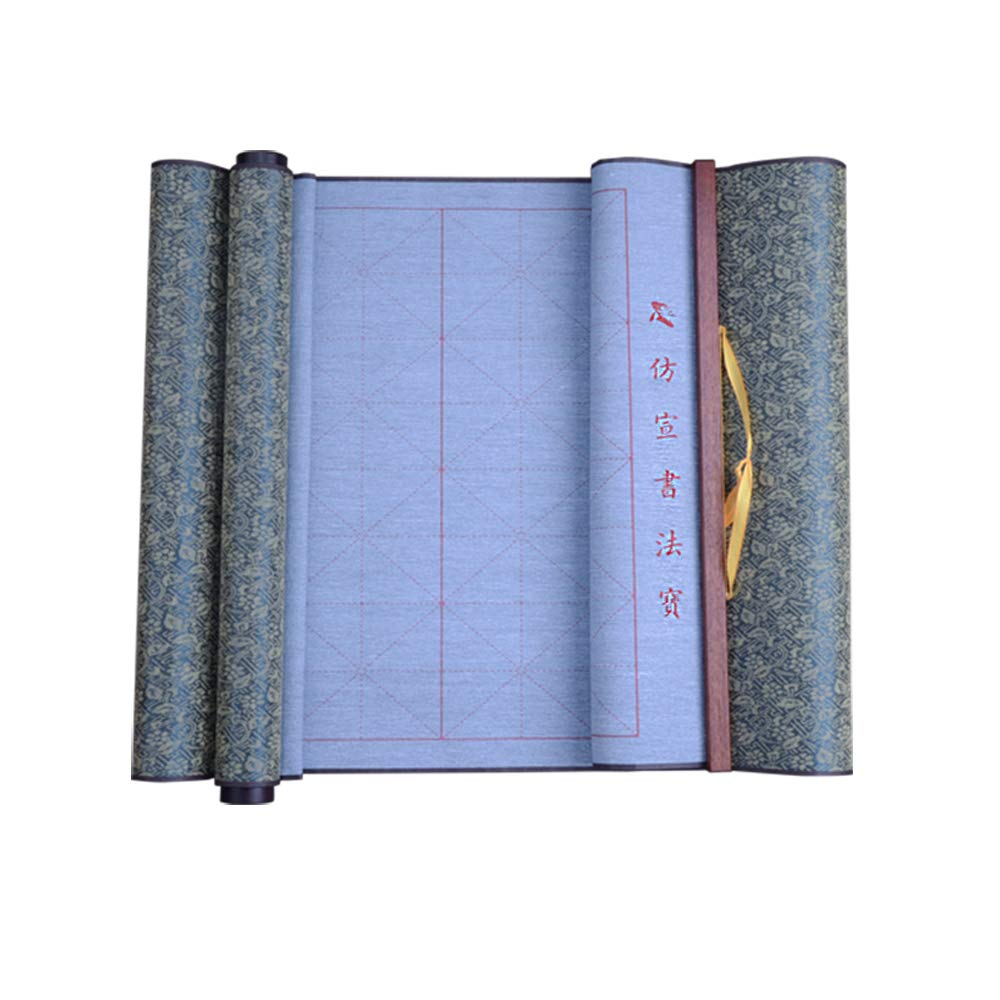 Tianjintang Eco-Friendly No Ink Needed Chinese Calligraphy Japanese Kanji Water Writing Magic Grids Roll-up Scroll for Beginner 38cmx80cm/15inx31.5in