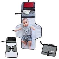 CozyBaby's On-The-Go Diaper Changing Pad (Gray) - Waterproof Padded Diaper Changing Mat with Convenient Storage Compartment Plus Handy Travel Strap & Folds into Easy to Carry Pouch
