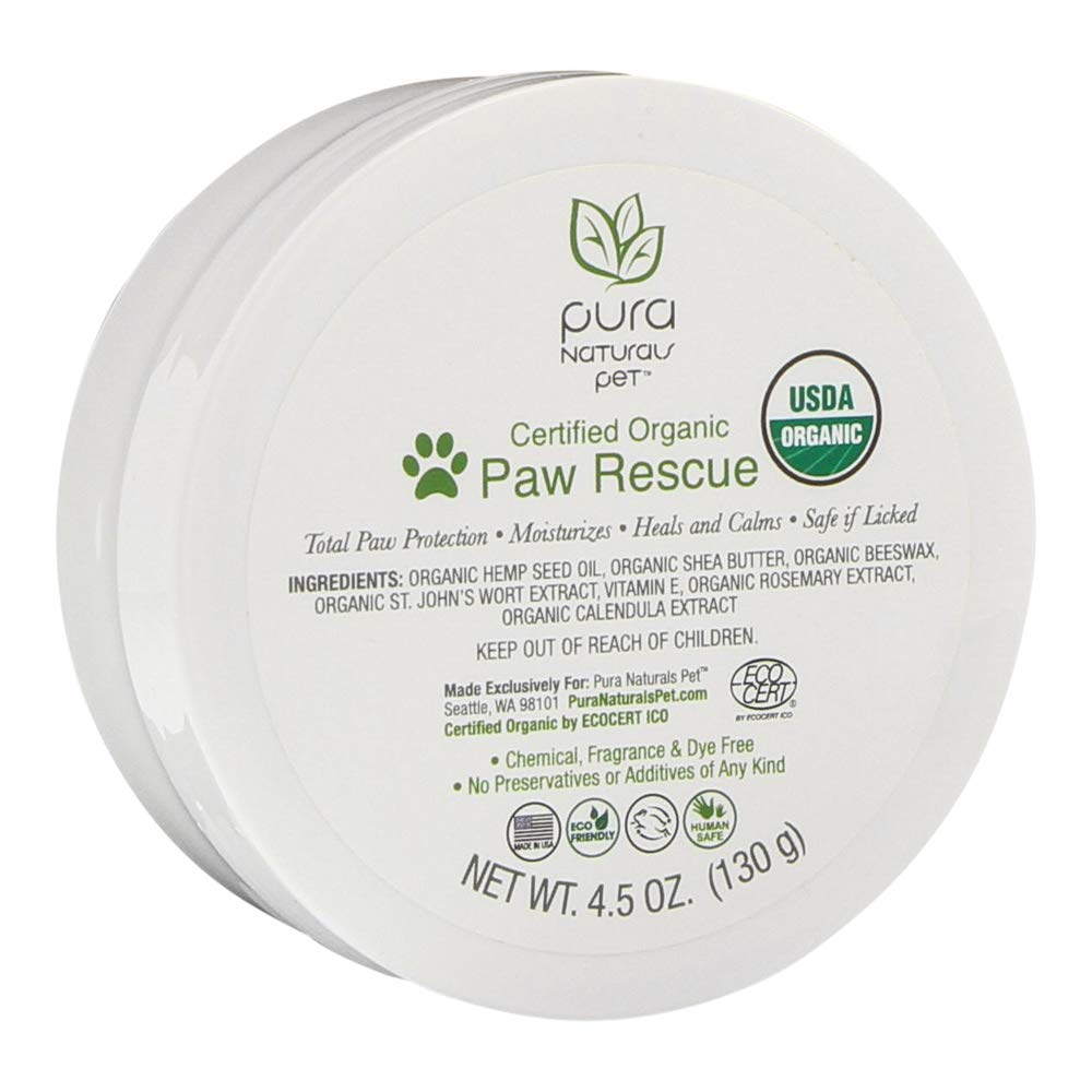 Pura Naturals Pet - Certified Organic Paw Rescue, Natural Relief for Dry Paws, No Harsh Ingredients, Eco-Friendly (4.5 Ounce)