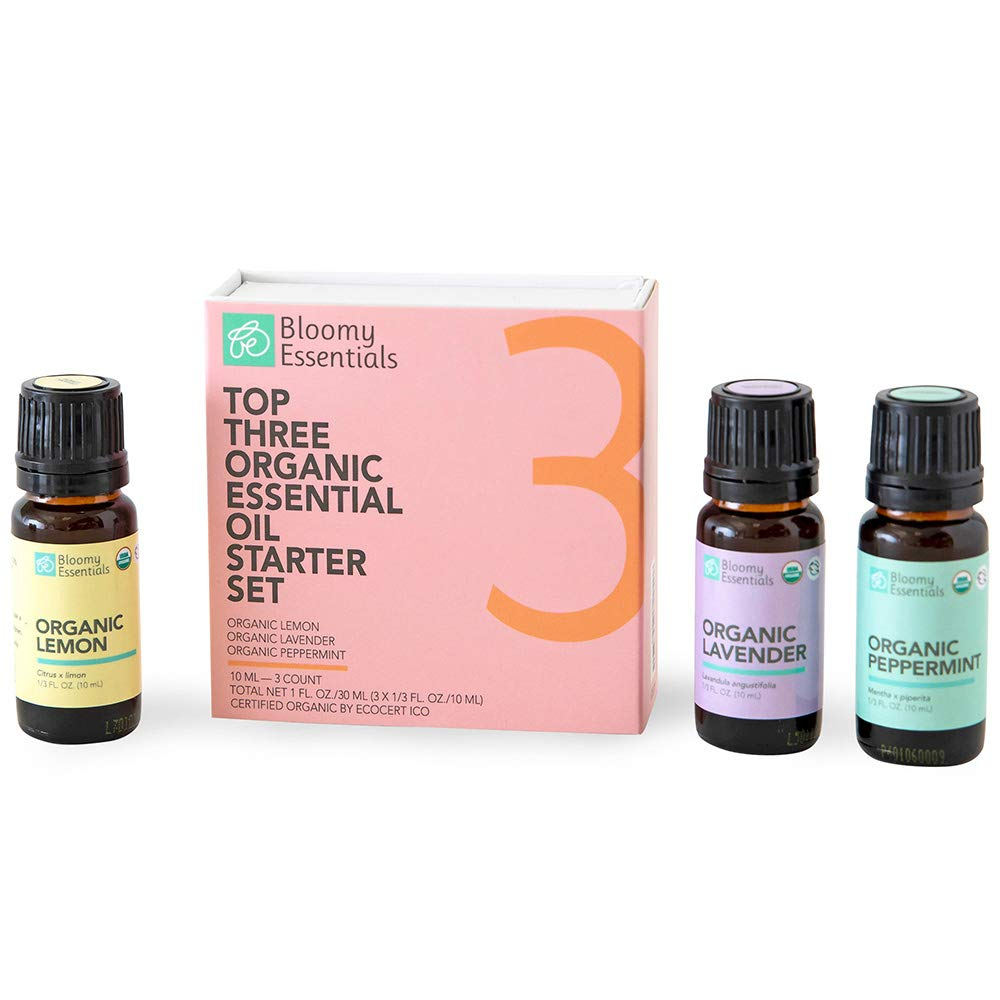 Bloomy Essentials Top 3 Organic Essential Oils Starter Set 10 mL (1/3 oz) - USDA Certified Organic - 100% Pure Lavender, Lemon and Peppermint, Undiluted, Therapeutic Grade