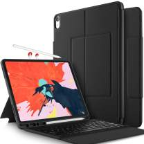 Luibor Keyboard Case for iPad Pro 12.9 2018 -Ultra Thin Stand Case with Attached Wireless Keyboard Pen Slot for Apple iPad Pro 12.9 2018 Tablet(Not Fit 2017 Version) (Black)