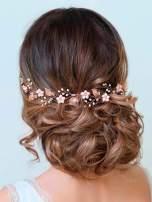 Aukmla Bride Wedding Hair Vines Flower Headbands Crystal Headpiece Bridal Jewelry for Women and Girls (Rose Gold)