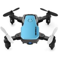 SIMREX X300C 8816 Mini Drone RC Quadcopter Foldable Altitude Hold Headless RTF 360 Degree FPV Video WiFi 720P HD Camera 6-Axis Gyro 4CH 2.4Ghz Remote Control Super Easy Fly for Training (Blue)