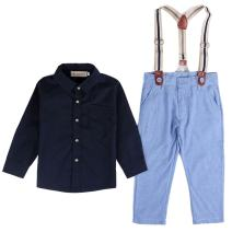 Baby Boy Long Sleeve T-Shirt Suspender Straps and Pants Clothing Sets Outfit