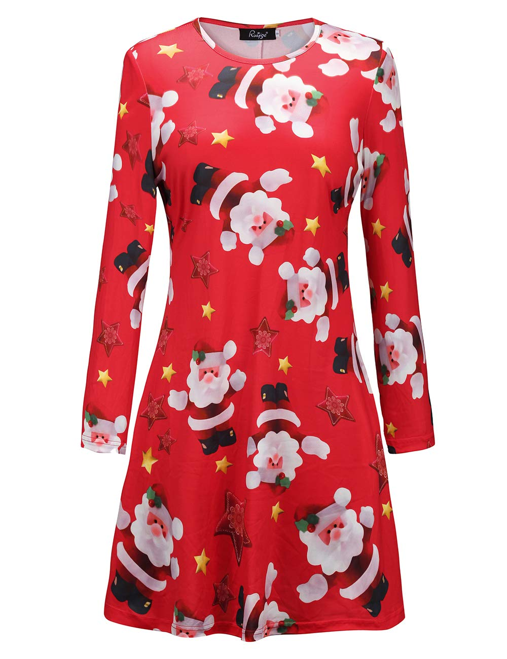 Ruiyige Womens Long Sleeve Christmas Printed Loose Fit Mini Dress,#L1038 Red Large…