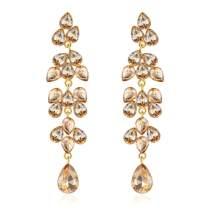 mecresh Cluster Cute Crystal Dangle Earrings Leaf Vine Long Drop Earrings for Women Gift Bridal Wedding Jewelry in Silver/Champagne/Rose/Darkblue/Multicolor