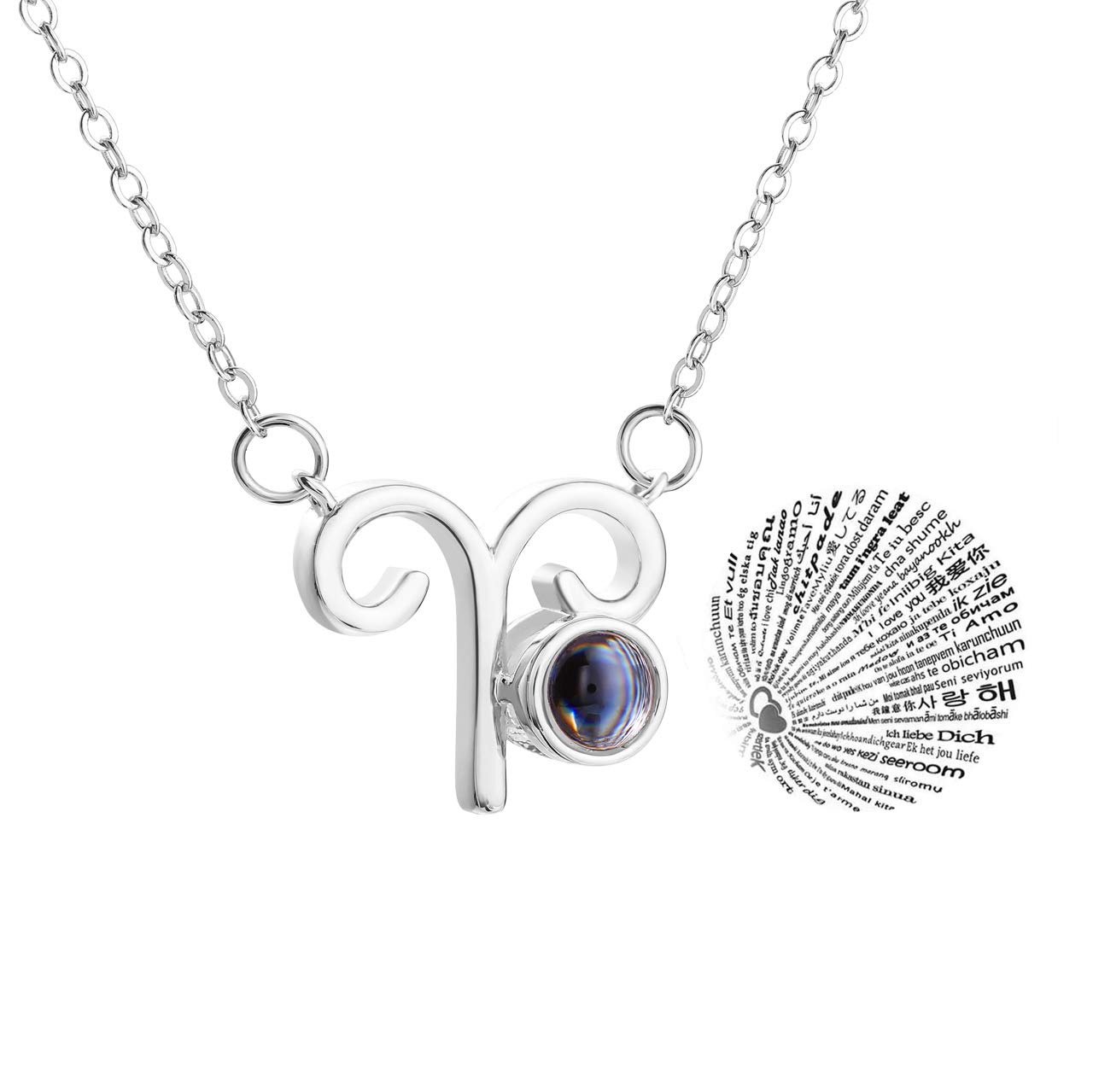 Zealmer 12 Zodiac Sign 100 I Love You Language Necklace 16K White Gold Plated