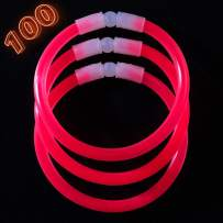 CoBeeGlow Red Glow Sticks Bulk Party Supplies - 100 Glow in The Dark Bracelets - Extra Bright Party Favors - 8 Inch Bracelet Strong and Durable - Stuffers for Kids
