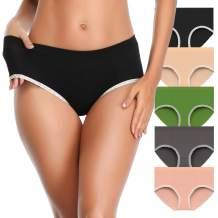 TIMPOM Women's Cotton Underwear Panties,Soft Mid Rise Breathable Underwear Women Briefs Hipster Multipack