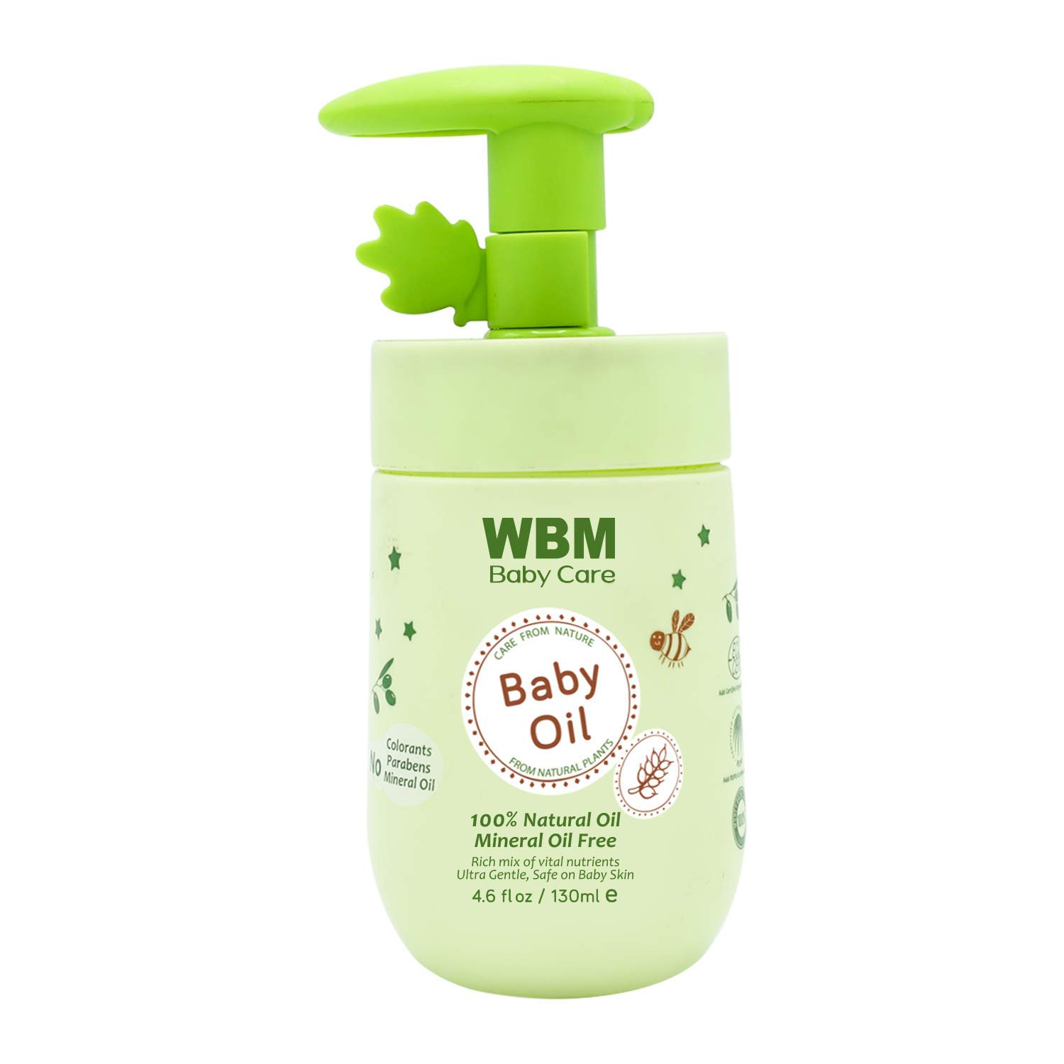WBM Care Baby Oil,Moisturizing Baby Massage Oil,Mineral Oil Free With 100% Natural Ingredients And Vitamin E - 4.6 Oz