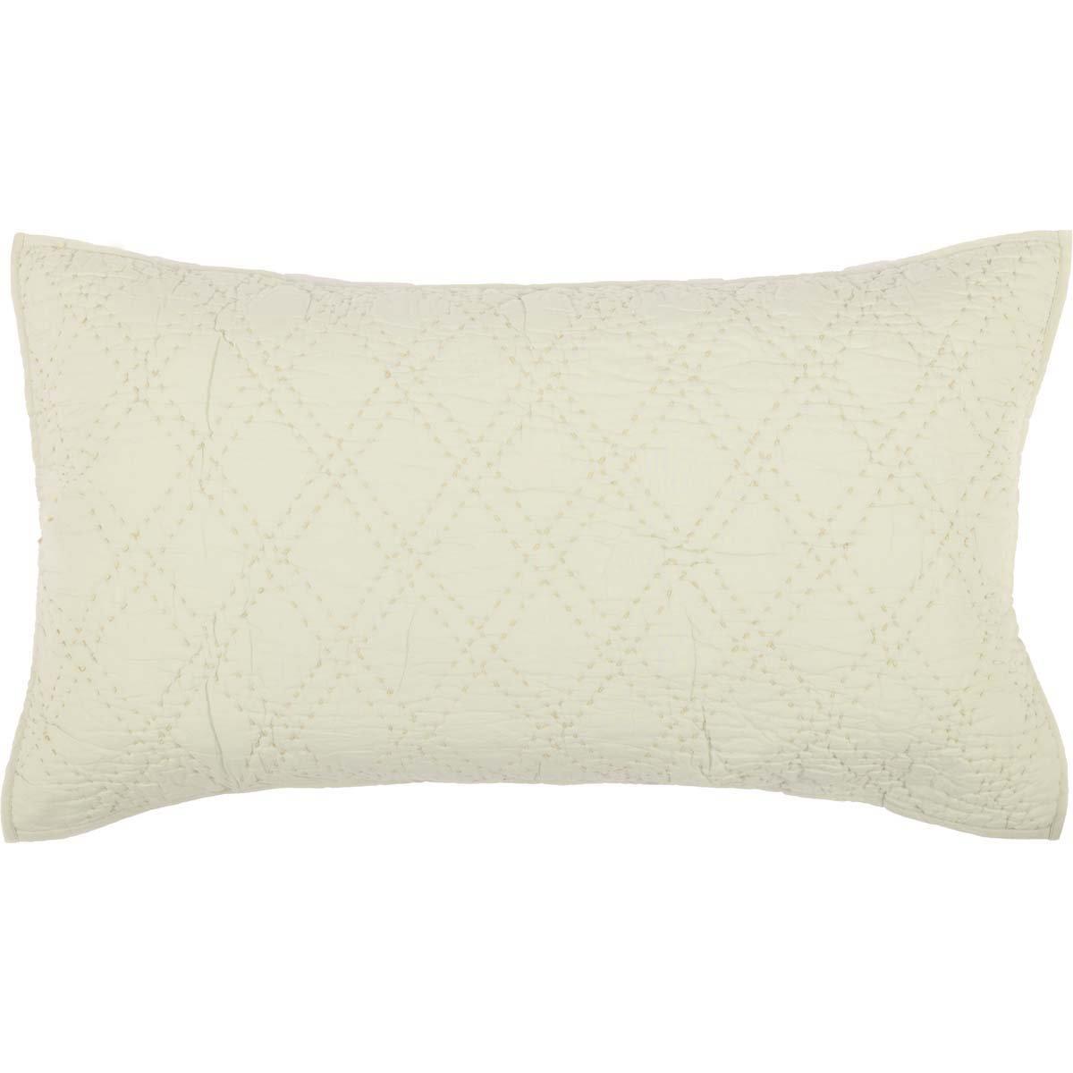 VHC Brands Farmhouse Bedding - Casey White Sham, King, Parchment