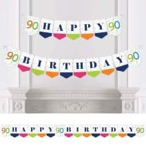 Big Dot of Happiness 90th Birthday - Cheerful Happy Birthday - Colorful Ninetieth Birthday Party Bunting Banner - Birthday Party Decorations - Happy Birthday
