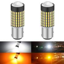 KATUR Super Bright 1157 2057 2357 7528 BAY15D P21/5W Switchback LED Bulbs White/Amber 3014 120SMD with Projector for Turn Signal Lights and Daytime Running Lights/DRL (Pack of 2)