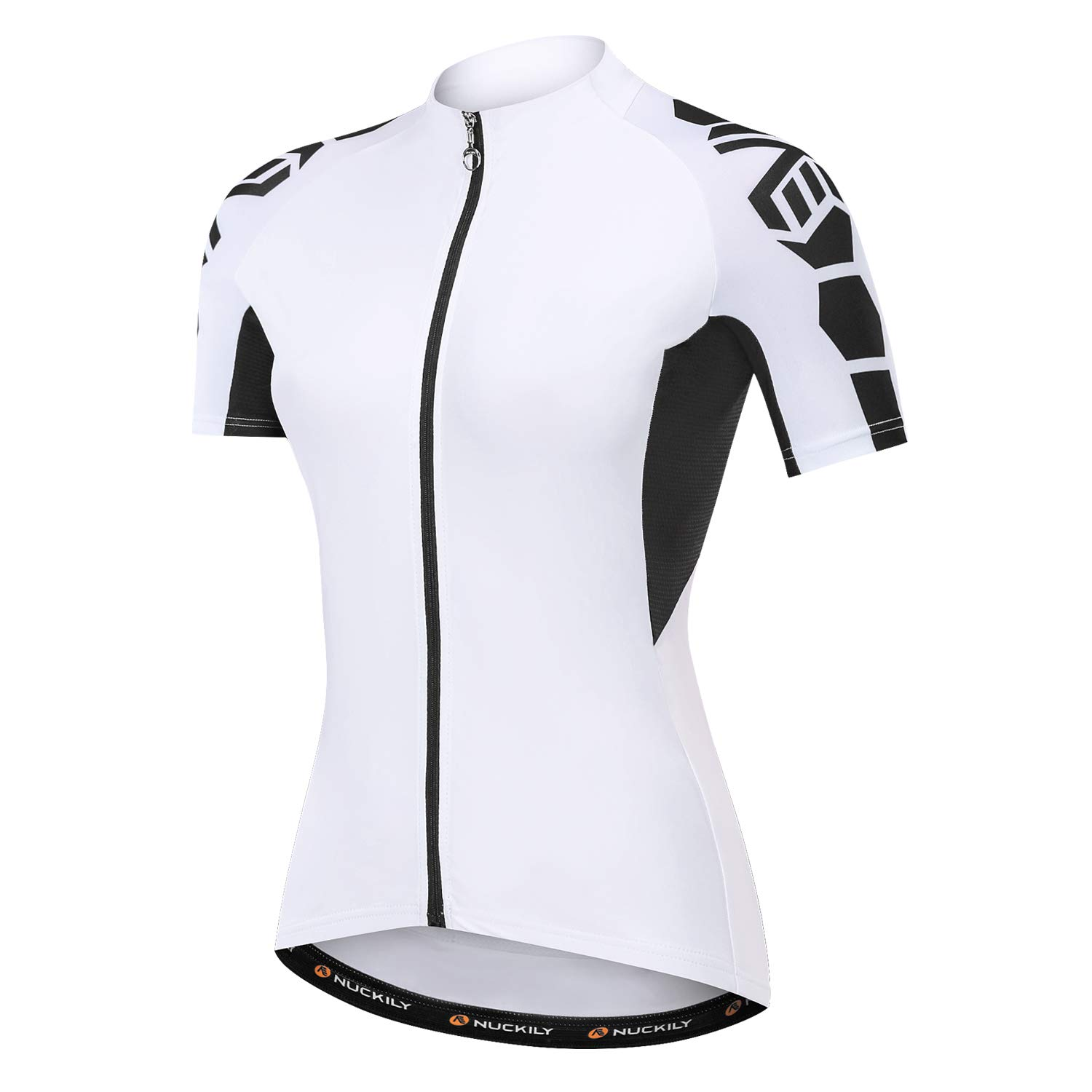 NUCKILY Women's Cycling Jersey Short Sleeve with 3 Pockets Bike Bicycle Clothing Biking Riding Shirts Cycle Wear