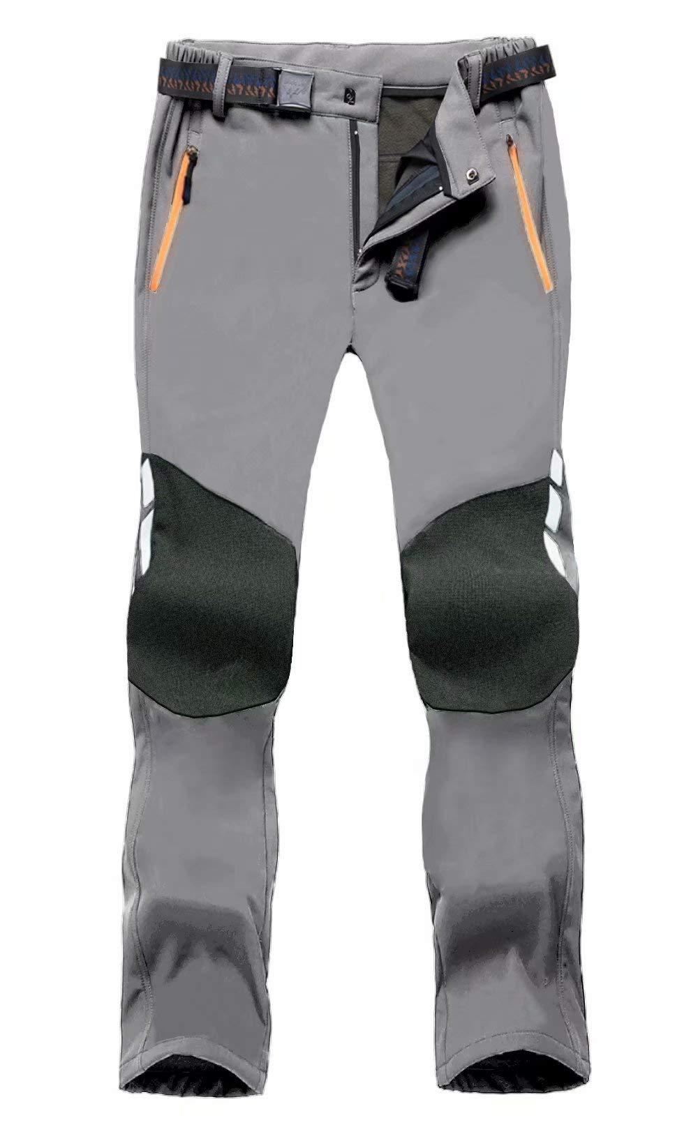 MAGCOMSEN Men's Snow Pants Water Resistant 3 Zip Pockets Reinforced Knees Fleece Lined Hiking Ski Pants