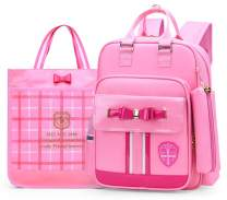 Cute Backpack for Girls with Lunch Box Set Waterproof Children Book bags Princess Bowknot Elementary School Bag (Small-Pink Set)