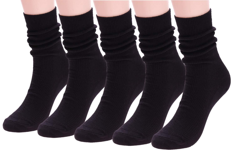Women High Ankle Socks, 5 Pack Lightweight Knit Boot Socks Soft Cotton Crew Socks Solid Color 5-9 G-23
