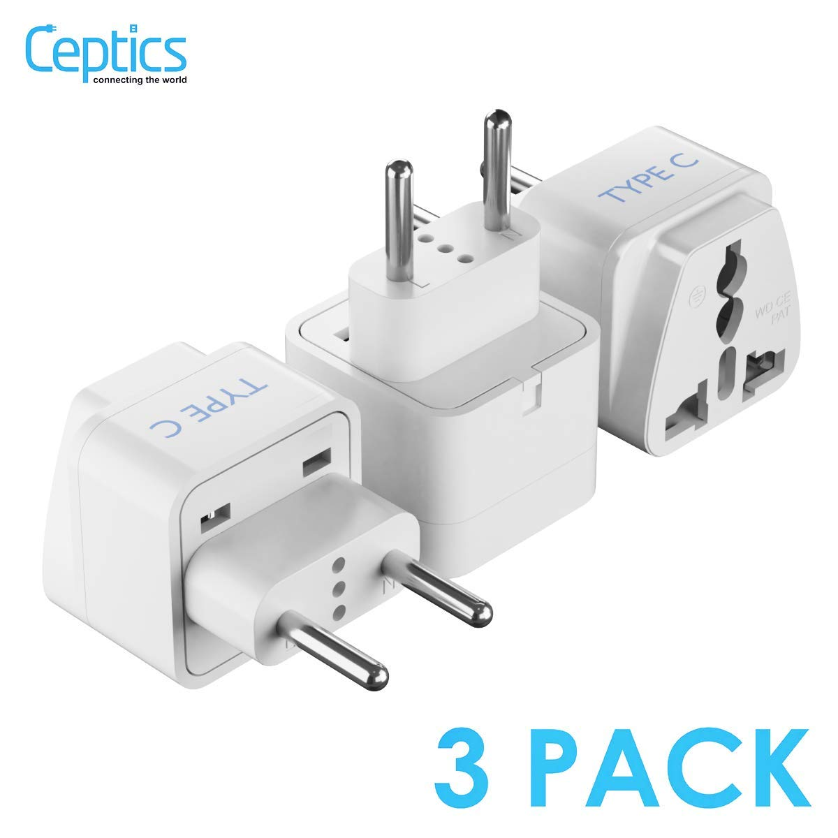 European Travel Plug Adapter (Type C) by Ceptics,  Universal to European EU, Power Charge your Electronics in Italy, Greece, Germany, Outlet Adaptor  3 Pack