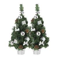EFORINK Tabletop Christmas Tree 21 inch Mini Pre-lit Christmas Tree with Multicolored LED Lights, Pinecone and Christmas Ornaments for Home and Office Decoration, 1.8ft, Silver, 2 Pack