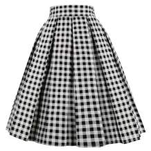 OBBUE Dresstore Vintage Pleated Skirt Floral A-line Printed Midi Skirts with Pockets
